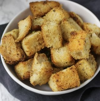 croutons in white bowl