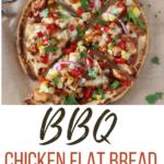 bbq chicken flatbread with pizza cutter