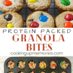 protein packed granola bites in muffin pan with pinterest text