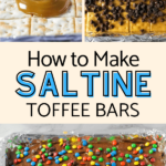 pictures of saltine toffee bars being assembled