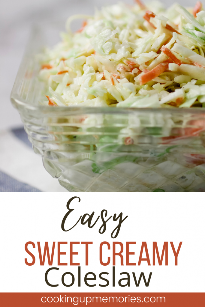 easy sweet creamy coleslaw in bowl with pinterest text