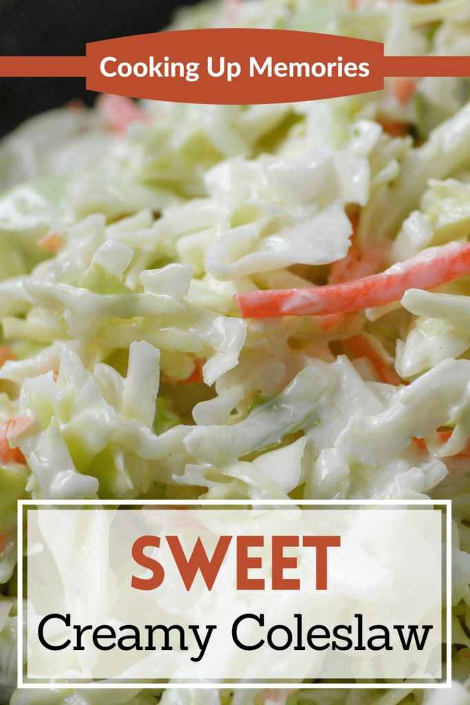 sweet creamy coleslaw with pinterest text