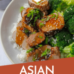 grilled asian pork tenderlin with rice and broccoli and pinterest text