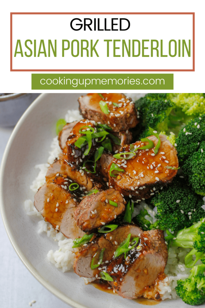 grilled asian pork tenderloin with broccoli and white rice and pinterest text
