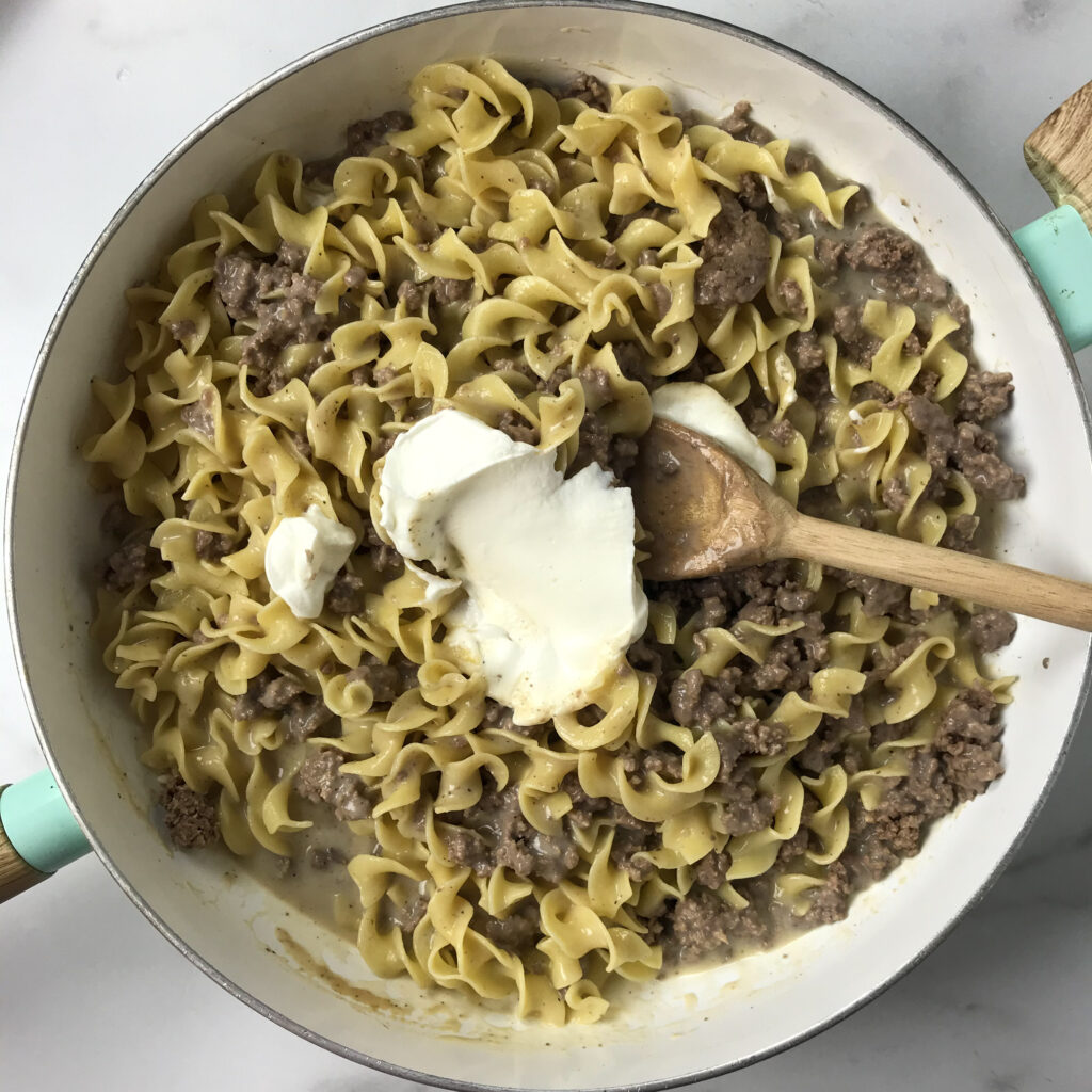 beef noodles and hamburger in sauce with sour cream