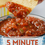 easy mexican salsa with chip and pinterest text