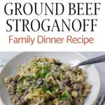 ground beef stroganoff with pinterest text