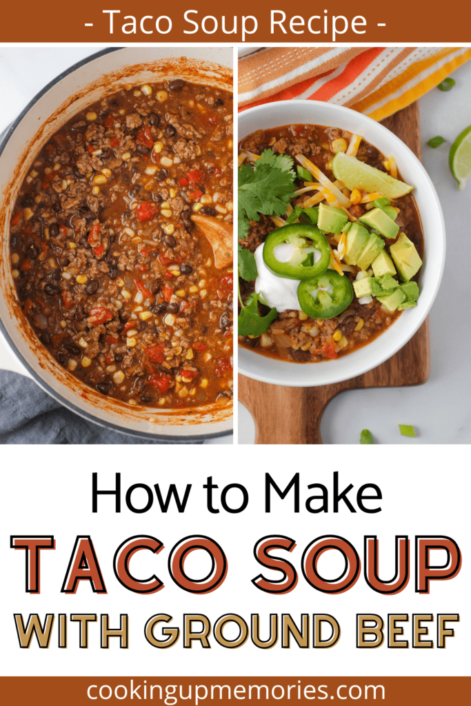 taco soup in bowl with pinterst text