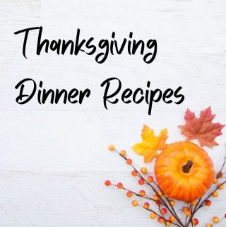thanksgiving dinner recipe poster with pumpkin and fall leaves