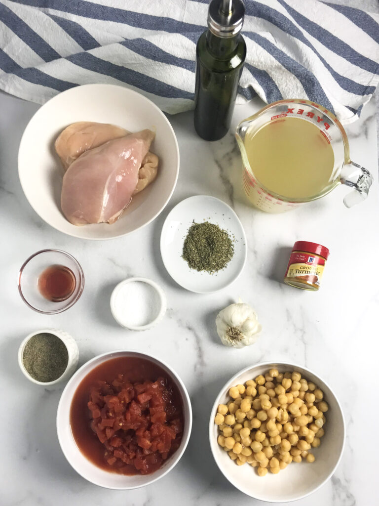 a picture of each ingredient needed to make Instant Pot Tuscan Chicken Soup