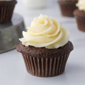 chocolate cupcake with buttercream icing