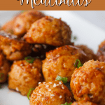 orange chicken meatballs on a white plate