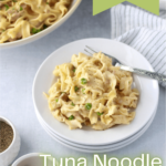 instant pot tuna noodle casserole on a plate with fork and salt and pepper containers