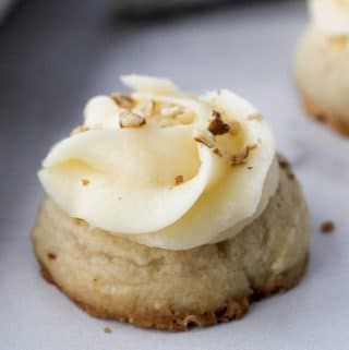 Pecan Thumbprint Cookies with buttercream icing.