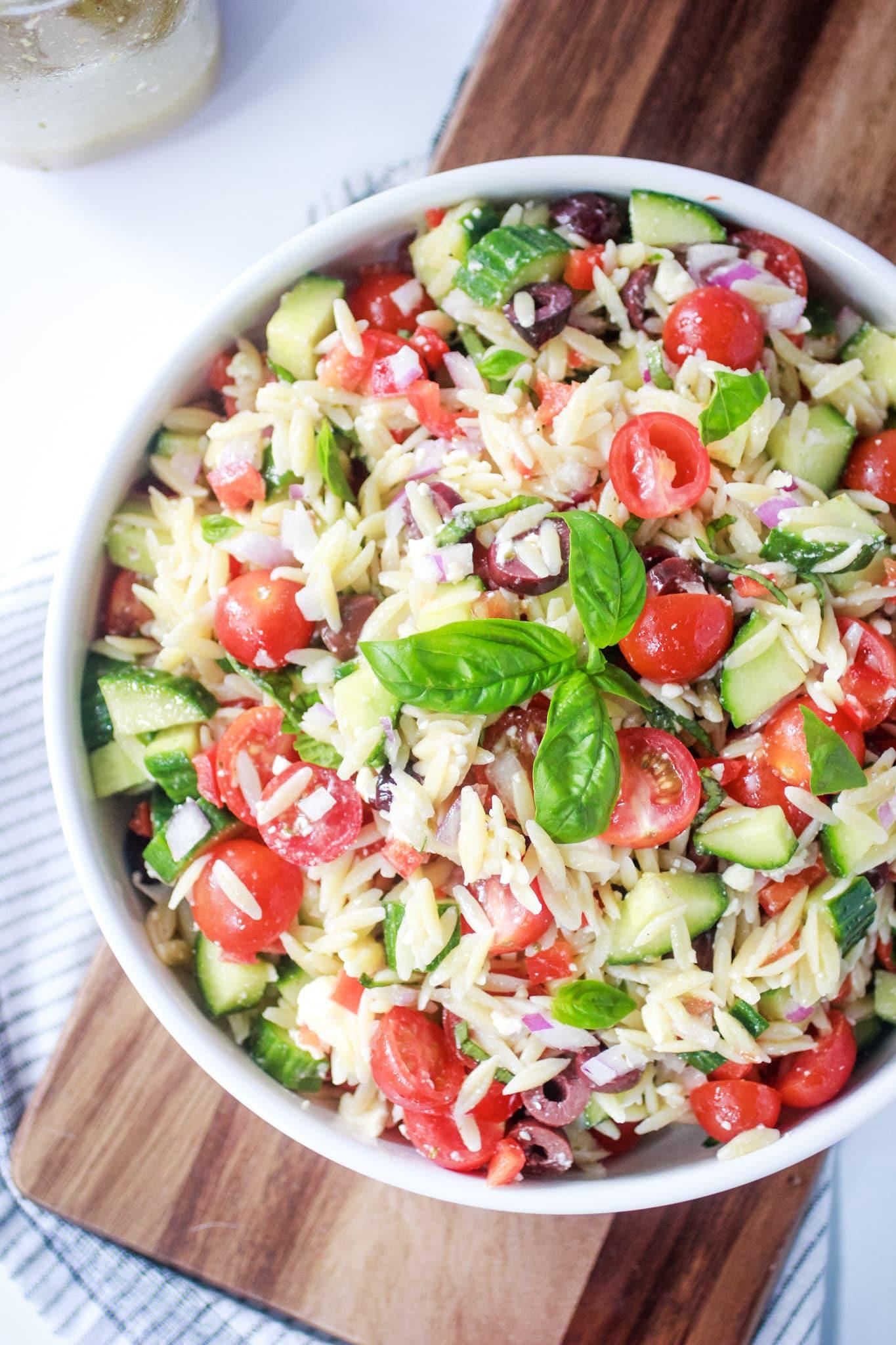 Greek Feta Salad in a white bowl.