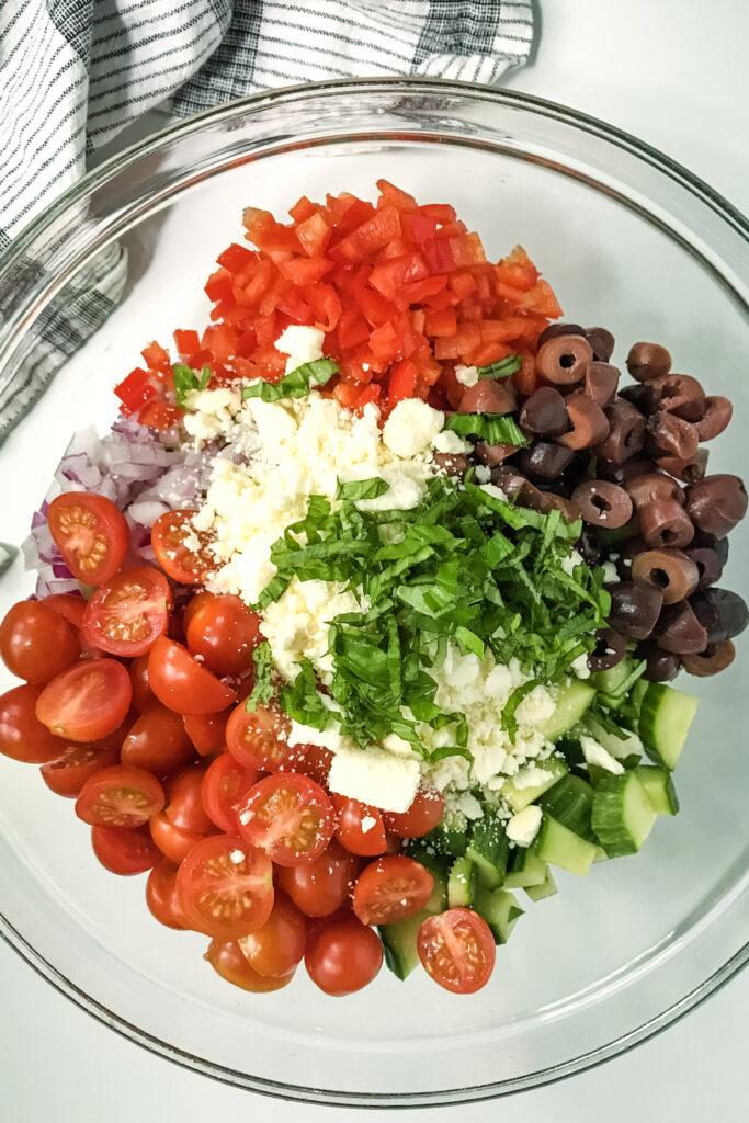 Greek Feta Salad Ingredients on plate