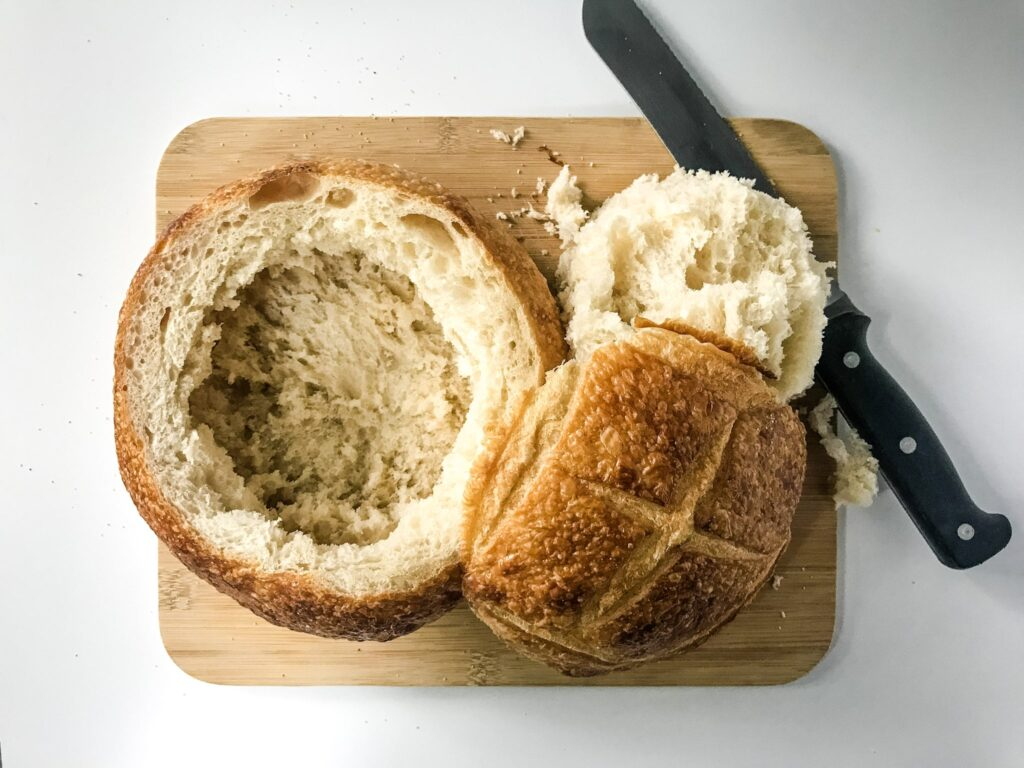 Bread Bowl with top cut off so that filling can be added