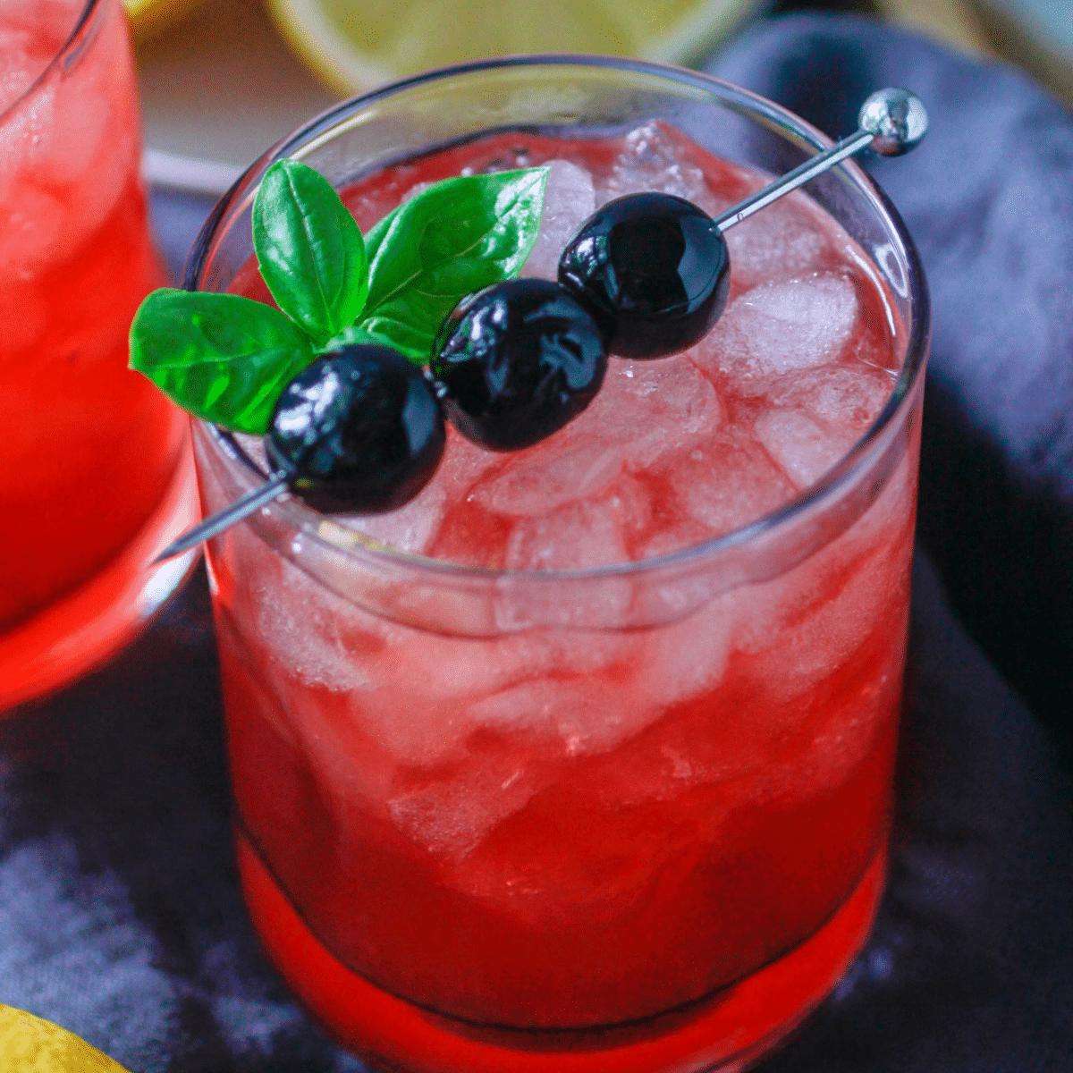 cherry whiskey sour with garnish