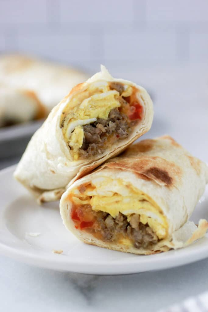 Sausage Breakfast Burritos on a plate.